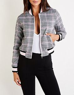 Plaid Bomber Jacket Patterned Bomber Jacket, Bomber Jacket Outfit, Lounge Outfit, Casual Outfits, Fashion Outfits, Jackets For Women, Clothes For Women, Jacket Pattern, Dress Suits