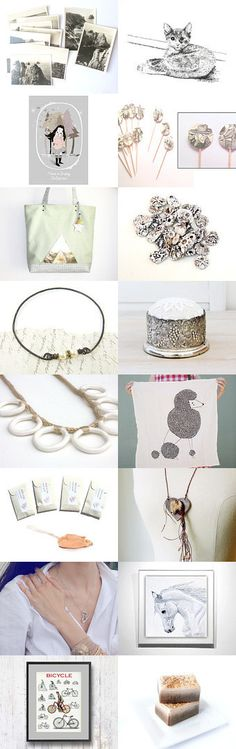 Pretty Things by Leslie of Bandie Girl on Etsy ~ Winter whites and a touch of cream. Handmade jewelry, leather tote, ceramic beads, vintage photos and decor, art and a poodle and more.  Pinned with TreasuryPin.com