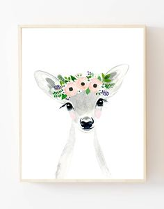 Baby animal : deer, fawn Lets make your little ones room warm and enjoyable! It is designed in softer grey tones perfect for a nursery or childs room. Materials: Printed on beautiful high quality, archival and acid free watercolor fine art paper using professional Epson Ultra Chrome