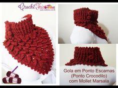 Gola em Ponto Escamas (Ponto Crocodilo) com Mollet Marsala Materiais: 01 Mollet Marsala (100 grs) Agulha Soft 4mm Gráficos e Receita: http://www.crochetrico....