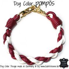 Dog Collar pompös DUNKELROT ELFENBEIN GOLD