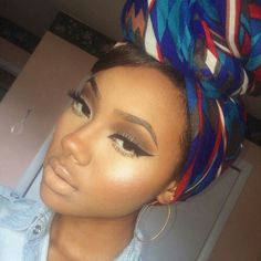 Nude lips. Winged liner, gorgeous makeup look. Pretty head wrap. More