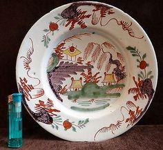 Antique English  delft polychrome plate, circa 1750