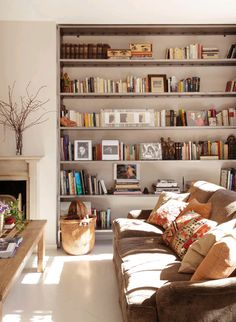 Sonniges Wohnzimmer mit großem Bücherregal / Sunny living room with couch and bookshelf