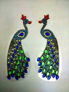 Rangoli Patterns, Rangoli Designs, Janmashtami Decoration, Peacock Rangoli, Diwali Decorations, Morning Pictures, Stone Work, Clay Crafts, Drop Earrings