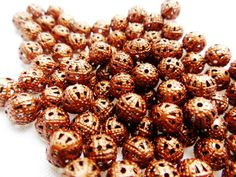 6mm 50 Antique Copper Filigree Round Spacer Beads by FireSwanBeads, $2.49 http://www.FireSwanBeads.etsy.com