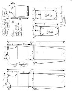 Esquema de modelagem de macacão pijama infantil tamanho 4.