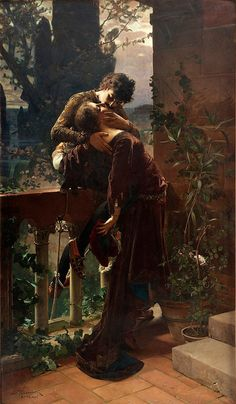 Painting is Poetry - Julius Kronberg, Romeo and Juliet on the Balcony. Romantic Paintings, Classic Paintings, Beautiful Paintings, Art Paintings, Art Amour, Romeo Und Julia, Art Ancien, Pre Raphaelite, Classical Art
