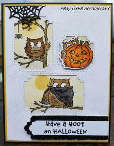 HALLOWEEN Handmade Card Kit, Set of 4, Stampin Up Have A Hoot, Owl #HandmadeStampinUp #Halloween Card Kit, Halloween Cards, Greeting Cards Handmade, Stampin Up, Owls, Ebay, Stamping Up, Owl, Tawny Owl