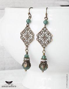 Bronze Filigree Edwardian Earrings Green Moss Agate by Amaradorn