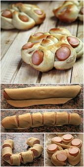 Creative Ideas - DIY Flower Shaped Hotdog bun Every kid seems to love hot dog. The combination of hot dog and bread dough will be great to satisfy them. Lets give regular hot dog diys Snack Recipes, Cooking Recipes, Dinner Recipes, Pizza Recipes, Bread Recipes, Dinner Ideas, Creative Food, Creative Ideas, Tasty
