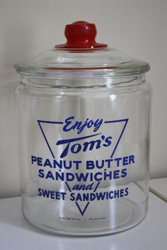 "Very rare 1950's Vintage ""TOM'S PEANUT BUTTER Sandwich"" Jar, Excellent Condidtion, Long T lettering.. $80.00, via Etsy."