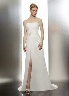 ELEGANT CHIFFON SATIN SHEATH ONE SHOULDER BEADED APPLIQUED SLIT SUMMER WEDDING DRESSES LACE FORMAL PROM PARTY BALL GOWN