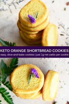 These Keto Orange Shortbread Cookies are crisp, subtly sweet, aromatic with vanilla and orange, and perfect for pairing with a cup of tea. Just 1g net carbs per cookie! #lowcarb #lchf