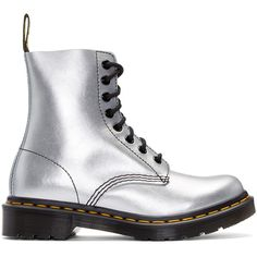 Dr. Martens Silver Eight-Eye Pascal Boots (€120) ❤ liked on Polyvore featuring shoes, boots, ankle booties, zapatos mujer, silver, real leather boots, round toe booties, genuine leather boots, metallic booties and metallic boots