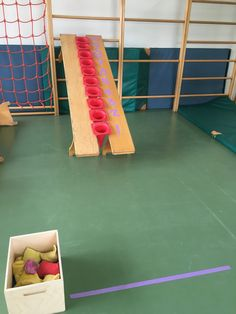 Turn this into skee-ball somehow Physical Education Activities, Gross Motor Activities, Preschool Games, Montessori Activities, Gross Motor Skills, Activities For Kids, Health Education, Zumba Kids, Kids Gym