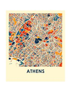Our Athens map print illustrates the geography and patterns of this great metropolis. This bold and colorful map print will fit your decor, for home or office. The Athens map is printed in high saturation ink on bright white gloss paper. Print size higher than 13x19 are printed on semi-gloss paper. The data used to create this map comes from OpenStreetMap and is under Creative Commons 2.0 license. Price showed is for a 8.5x11 inch print and does not include the frame. You can find a matc... Vintage Maps, Antique Maps, Maps Design, City Map Poster, Map Posters, Athens Map, Greece Map, Map Quilt, Paris Map