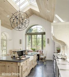 Vaulted Kitchen Ceiling With Skylights