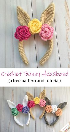 Free pattern and step by step tutorial to make your own crochet bunny headband! The color possibilities are endless!