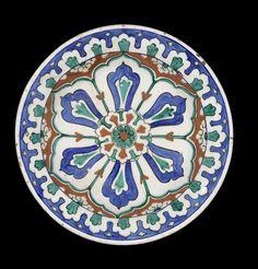 Bonhams : An Iznik polychrome pottery Dish Turkey, circa 1580 Turkish Plates, Turkish Art, Turkish Tiles, Turkish Design, Portuguese Tiles, Moroccan Tiles, Glazes For Pottery, Ceramic Pottery, Pottery Art