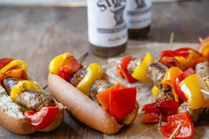 Bratwurst and Bell Pepper Skewers are perfect for tailgating. Try them on our S. Rosen's brat & sausage rolls!