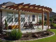 Inspirational ideas decks and patios designs that will make you fall in love. When most people take into consideration decks and patios designs and with so Curved Pergola, Pergola Canopy, Pergola Attached To House, Deck With Pergola, Wooden Pergola, Backyard Pergola, Pergola Shade, Deck Patio, Diy Deck
