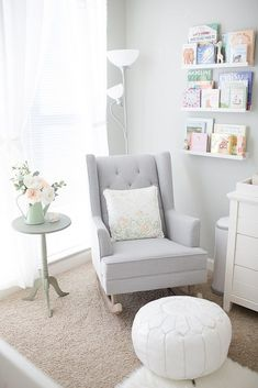 gray and white nursery reading nook rocker rocking chair #RockingChair #ReadingChair