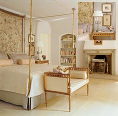 José Solís Betancourt-designed gilt four-poster with armillary-sphere finials in a 1932 Tudor Revival