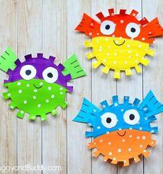 DIY paper plate puffer fish - summer kids craft idea // Vidám gömbhalak papírtányérból - nyári ötlet gyerekeknek // Mindy - craft tutorial collection