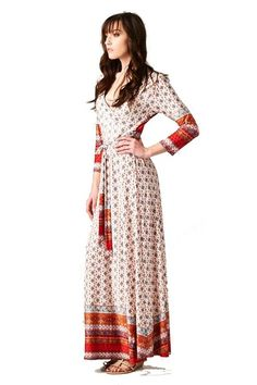 On Trend Paris Dress Red and Navy Bohemian 3/4 Sleeve Long Maxi Dress at Amazon Women's Clothing store
