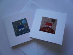 Wee Cottage Textile Art Greeting Cards. Pack of 2