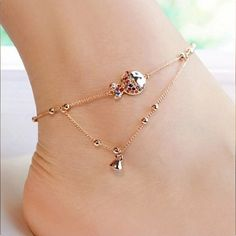 2017 Gold Plate Clown Fish Ankle Bracelet Anklets For Women Barefoot Sandals Foot Jewelry Anklet  Leg Chain Chaine Cheville JL12
