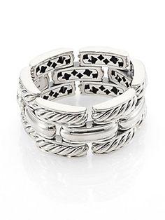 David+Yurman Sterling+Silver+Wide+Link+Bracelet