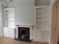 Alcove Cupboards & Shelving - PJH Carpentry and Joinery Alcove Cupboards, Alcove Shelving, Built In Cupboards, Living Room With Fireplace, My Living Room, Living Room Decor, Living Room Cupboards, Living Room Storage, Victorian Living Room