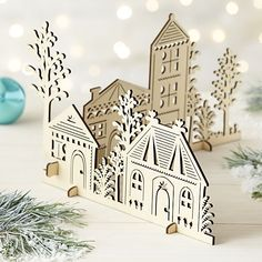 2-Piece Laser-Cut Wood Village | Crate and Barrel