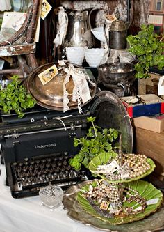 Look at the beautiful Underwood typewriter! This is from the Farm Chicks Antiques Show in Spokane, Washington.