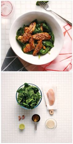 Sesame chicken with spinach salad and oriental dressing