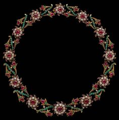 Giardinetti Necklace, c. 1760, gold, silver, diaminds, emeralds, rubies, The giardinetti jewel of which this necklace is an important example demonstrates that passion for colour and flowers characteristic of the eighteenth century decorative arts was not reserved for ceramics and textiles but was also expressed in jewellery. Worn like a garland round the neck the flowers would add a festive note to the toilette of the woman who wore it, and delight the eyes of all who saw her.