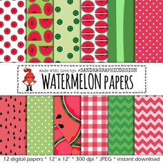 "New to SandraGraphicDesign on Etsy: Digital Paper and Clipart: ""WATERMELON PAPER"" with 12 different digital paper files and 12 clipart watermelon figures (1206) (3.75 USD)"