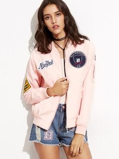 Pink New York Patch Bomber Jacket