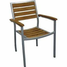 Garden / Patio Outdoor Aluminium & Teak Chair (Pre-treated) (Pack - stylish and durable furniture for your garden Outdoor Chairs, Outdoor Furniture, Outdoor Decor, Contemporary Garden Furniture, Patio, Wood, Amazon, Design, Stylish