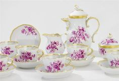 Miniature Porcelain Tea Set, White w Gold Trim, Magenta/Purple/Pink Floral Motif, Teapot w Lid, Sugar Bowl w Lid, Creamer, Six Cups, Six Saucers.