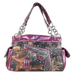 CAMO RHINESTONE GUN PISTOL PURSE WALLET SET PURPLE