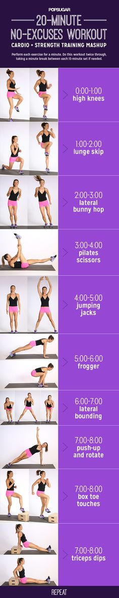 Muscle, Burn Calories: Printable Cardio-and-Strength Workout 20 minute no equipment workout. This workout is quick and effective and mixes classic cardio moves with bodyweight strength-training exercises to burn calories and build muscle. Fitness Workouts, Fitness Motivation, Sport Fitness, Body Fitness, Fitness Diet, At Home Workouts, Health Fitness, Easy Workouts, Exercise Workouts