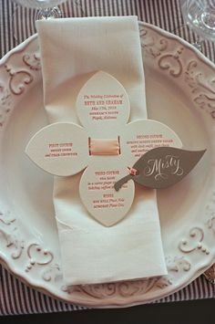 McNeil Menu card; flower shaped menu but different than this for garden theme