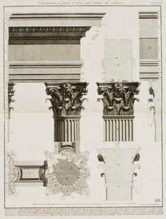 Elevation Of Interior Architrave And Column From The Pantheon Rome