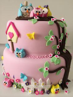 Owl cake Bolo corujinhas