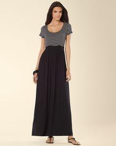 Soma Intimates Tee Shirt Maxi Dress Generation Stripe Black #somaintimates