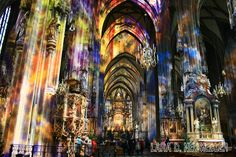St Stephen's cathedral in Vienna.  The stained glass windows fill the interior with astonishing colors and light.  I literally gasped when I walked in.