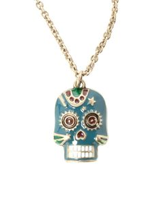 LOVEsick Blue And Gold Tone Day Of The Dead Skull Necklace | Hot Topic